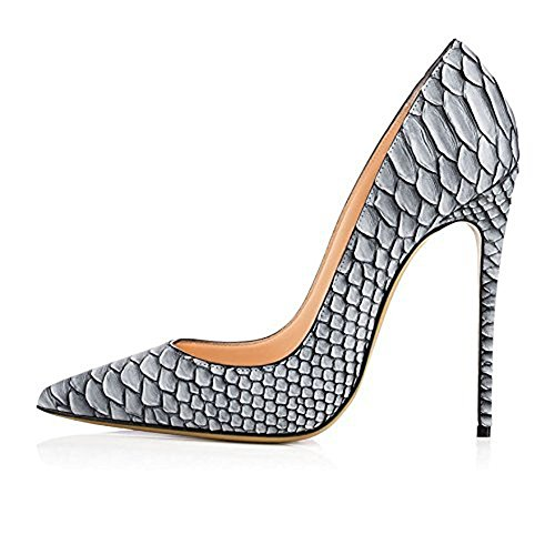 Heel Mesh Colorful 12cm Women's 10cm Pointed Shoes Toe Snakeskin Court Sandals uBeauty High Snakeskin Pumps Heel 12cm 16cm Grey TUqPR0xw