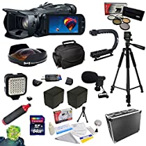 Canon VIXIA HF G30 HD Camcorder with HD CMOS Pro/32GB Internal Flash Memory with Special Edition All Sport Accessory Package: 64GB High-Speed SDXC Card + 5 Piece Pro Filter Kit (UV, CPL, FL, ND4 and 10x Macro Lens) + 0.3X HD II Fisheye Lens + 2 Extra Batteries + Battery Charger + Opteka Stabilizing X-GRIP and Handgrip + High Power 36 Pin LED Light + Mini Shotgun Microphone + Heavy duty ABS hard-sided Pro Case + Padded Gadget Case + Cleaning Kit + More