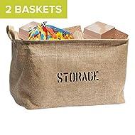 "OrganizerLogic Storage Bins ( 2 Baskets) - 14"" x 10.5"" x 9.5"" - Medium Jute Storage Baskets - Help You Organize Toys, Laundry, Clothes, Baby Nursery, Kids Rooms"