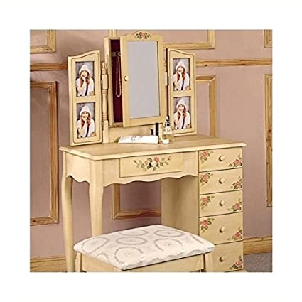 Marvelous Bowery Hill Hand Painted Wood Makeup Vanity Table Set With Mirror In Ivory