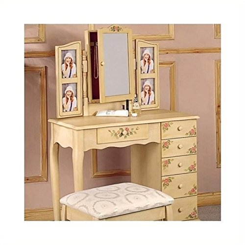 Bowery Hill Hand Painted Wood Makeup Vanity Table Set with Mirror in Ivory - Hand Painted Vanity Set