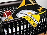 5pc Black Yellow Sports NFL Football Pittsburg Steelers Crib Set with Bumper