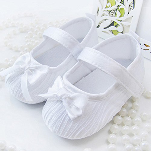 Weixinbuy Toddler Baby Girl's Satins Bowknot Soft Sole Velcro Crib Shoes White