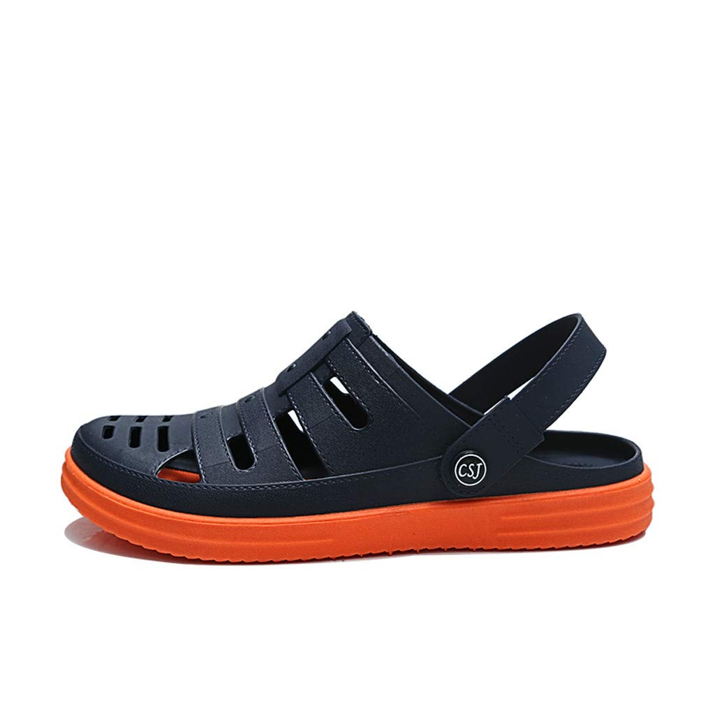 Kinglly Men's Summer Non-Slip Sandals Soft Soles Breathable Casual Beach Shoes Clogs Moccasins Orange by Kinglly Shoes