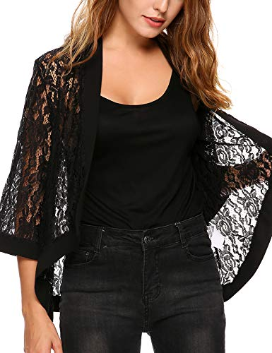 Dealwell Women's 3/4 Sleeve Lace Shrug Open Front Cardigan Black XL