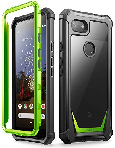 (Google Pixel 3a Rugged Clear Case, Poetic Full-Body Hybrid Shockproof Bumper Cover, Built-in-Screen Protector, Guardian Series, Case for Google Pixel 3a (2019 Release), Green/Clear)