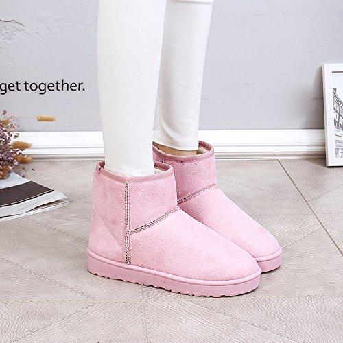 NSXZ Female flat waterproof non-slip padded winter snow boots warm boots, 120W