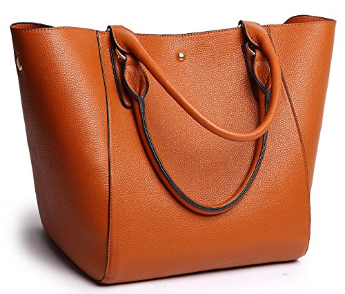 (Obosoyo Women's Waterproof Handbags ladies Synthetic Leather Tote Shoulder Bags Fashion Travelling Mommy Soft Hot Brown)