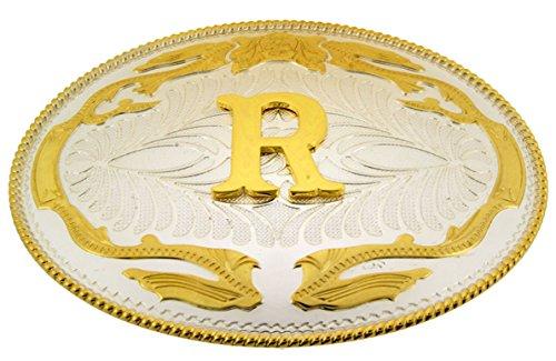 Initial Belt Buckles Texas Us Style Cowboy Men Jumbo Big Gold Silver Metal New (Initial Monogram R)