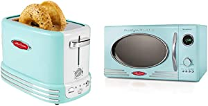 Nostalgia Retro Aqua Microwave and Toaster Bundle