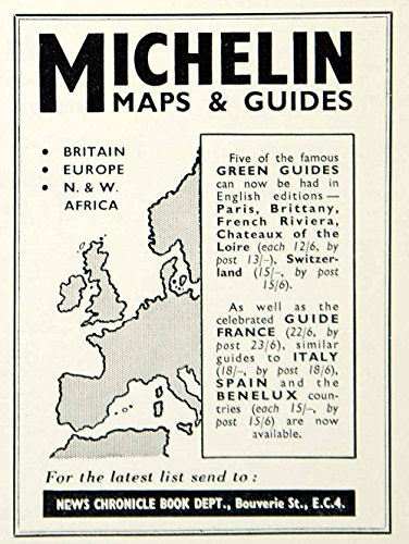 1958-ad-news-chronicle-book-michelin-maps-guides-britain-europe-africa-ymt2-original-print-ad