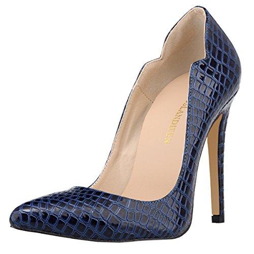 Loslandifen Mujeres Elegant Crocodile Grain Work Bombas Slip On Stiletto Zapatos De Tacón Alto Blue Crocodile Grain
