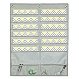 WALL HANGING FILE POCKET STORAGE ORGANIZER - 12-Pocket Chart Storage Organizer | Home Office School Crafts | Durable coated Fabric | 4 Accessory Pockets | Includes 3 FREE Hangers - APLOMB! (GRAY)