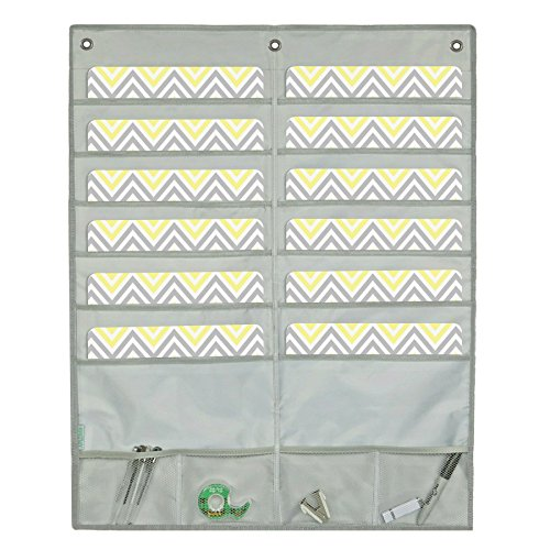 WALL HANGING FILE POCKET STORAGE ORGANIZER - 12-Pocket Chart Organizer | Home Office School Mail Crafts Bills | Heavy Duty Fabric | 4 Accessory Pockets | Includes 3 FREE Hangers - APLOMB! (GRAY)