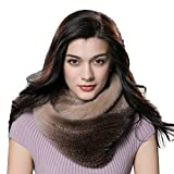 URSFUR Winter Ladies Scarves Real Mink Snood Fur Infinity Scarf Multicolor