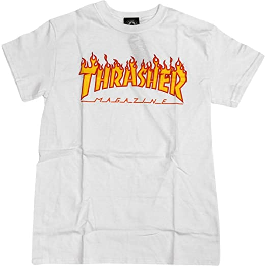 c74a85f5 Image Unavailable. Image not available for. Color: Thrasher Magazine Flame  White Medium T-Shirt