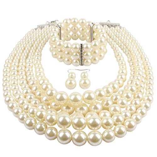 Lanue Women's Simulated Faux Pearl Multi-Strand Statement Necklace Bracelet and Earrings Set (White)