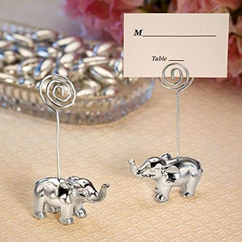 (Set of 12 Silver Finish Elephant Place Card Holders Wedding Favors Party Supplies tokocanna)