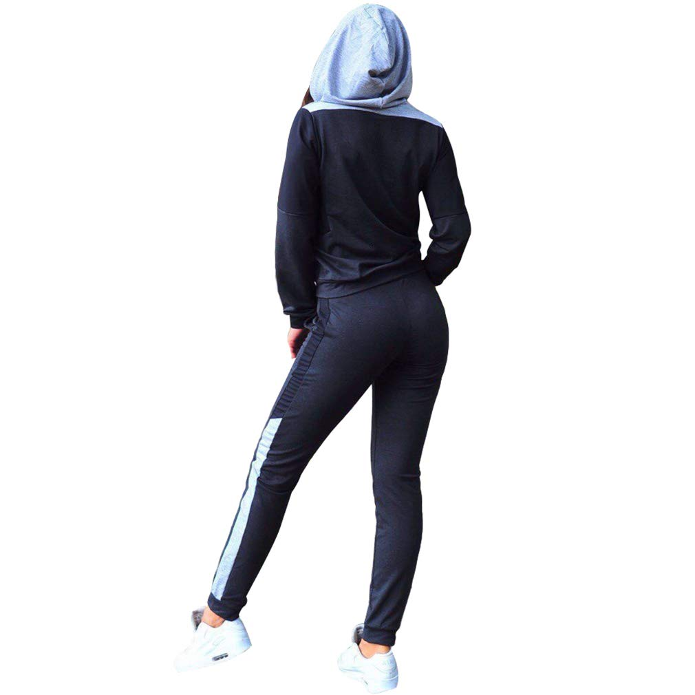 Mxssi Donna Hit Color Patchwork Lavorato Maglia Hoodied Pants 2 Pezzi Set di Abbigliamento Casual Patchwork Tute