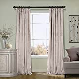 COFTY Extra wide Solid Matt Luxury Velvet Curtain Drapes with blackout lining Gray Beige 100Wx96L Inch(1 Panel)-Flat Hooks Heading Theater| Bedroom| Living Room| Hotel | Classroom