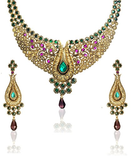 Zaveri Pearls Non-Precious Metal Multi-Colour Choker Necklace With Earrings Set For Women