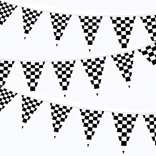 LEVOSHUA 100ft Checkered Black and White Flags Racing Pennant Flag Banners for Kids Nascar Race Car Party Decor -