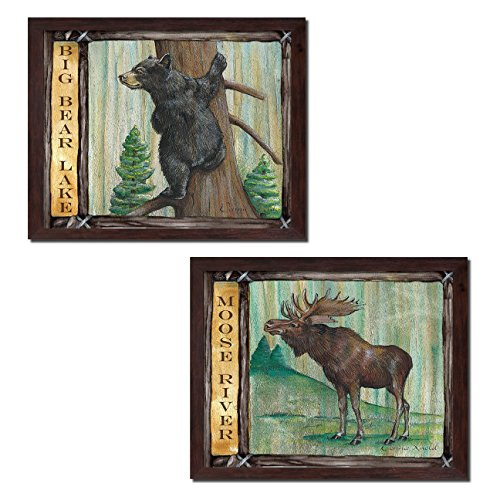 [Rustic Moose River and Big Bear Lake; Cabin Lodge Decor; Two 14x11in Brown Framed Prints; Ready to hang!] (Big Bear Lodge)