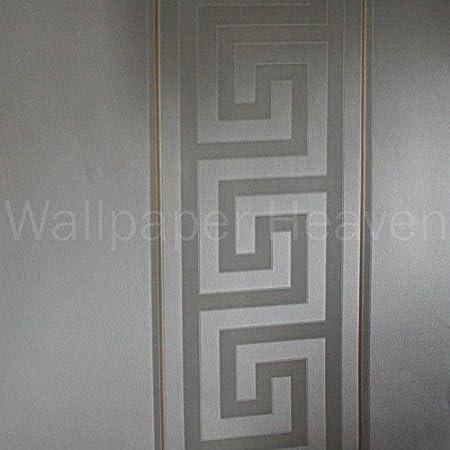 Versace Greek Key Stripe Designer Luxury Satin Wallpaper In Grey