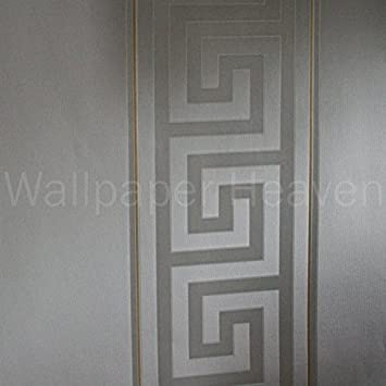 Versace Grec Clef Rayures Designer Luxe Satin Papier Peint En Gris