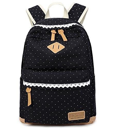5 ALL Fashion Mädchen Schulrucksack Damen Canvas Rucksack Teenager Baumwollstoff Schultasche Outdoor Freizeit Daypacks mit Schicker Lace QXT-6066 (Schwarz)