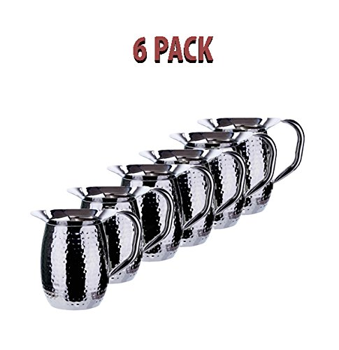Winco WPB-3H, 3-Quart Hammered Bell Pitcher, Sophisticated Carafe, Stainless Steel (6 PACK) by Winco