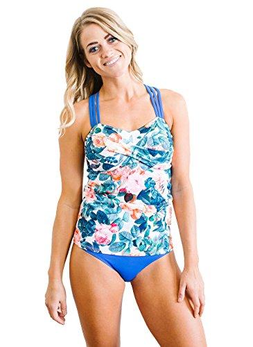 White Rose Triple-Strap Tankini - Lime Swimsuit