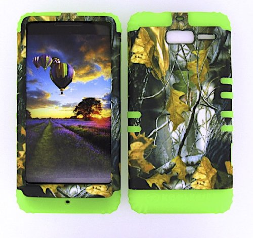 Cellphone Trendz Motorola Droid Razr M Xt907 Camo Dried Leaves Heavy Duty Case + Lime Green Gel Skin Snap-On Protector Accessory