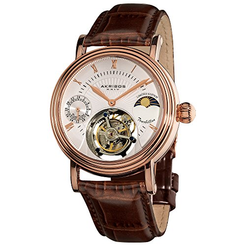 (Akribos Mechanical Tourbillon Moonphase Watch - Skeletonized Face with Automatic Dual-time Moon-Phase Dial - Limited Edition Genuine Croco-Embossed Calfskin Leather Band - AK493 (Rose)