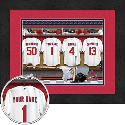 (St. Louis Cardinals Team Locker Room Personalized Jersey Officially Licensed MLB Sports Photo 11 x 14 Print)