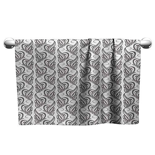 Bensonsve Pattern Hand Towels Grey and White,Artistic Swirling Leaves Flower Petals with an Abstract Design,Charcoal Grey and White,Hooded Towel for Kids Large
