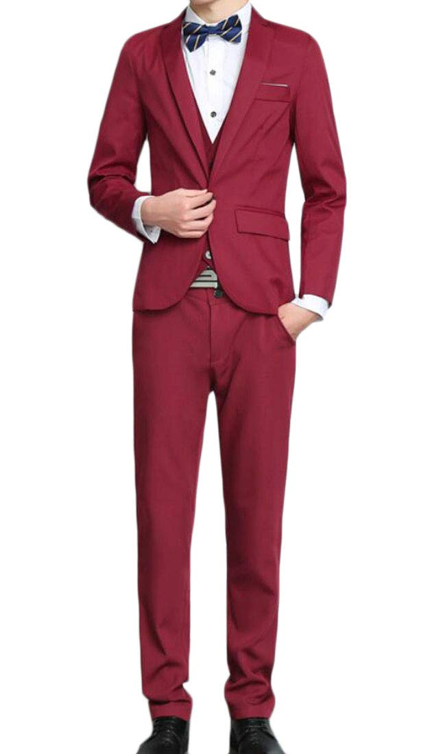 Domple Men's Buttons Vest Three Pieces Office Blazer with Pants Outfit Set Wine red L
