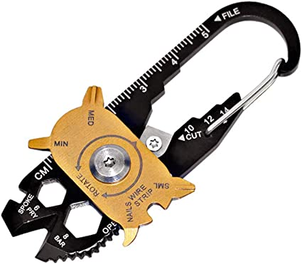 Edc Stainless Multi Tools Keychain Screwdriver Wrench Carabiner Pocket Tool ttLD