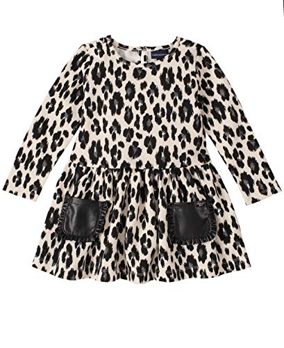 Girls Animal Print Onesie (Calvin Klein Baby Girls Dress, Animal Print,)