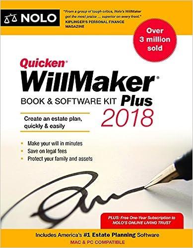 Book /& Software Kit Quicken Willmaker Plus 2018 Edition