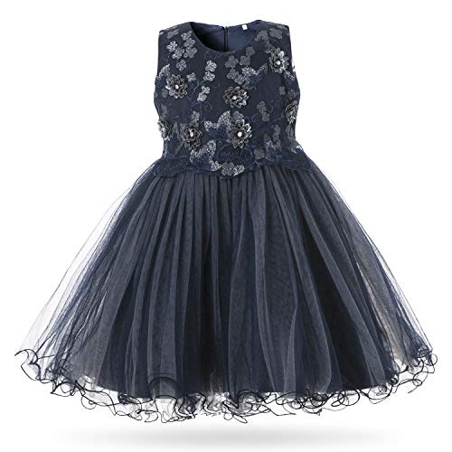 CIELARKO Baby Girl Dress Infant Flower Lace Wedding Party Dresses for 0-24 Months (4-6 Months, Navy)