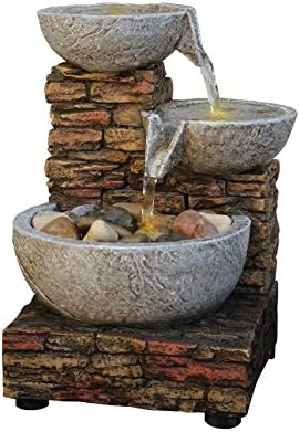 Newport Coast Collections 7 H Cascading Brick Bowl LED Fountain