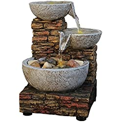 Cascading Bowl and Brick LED Fountain