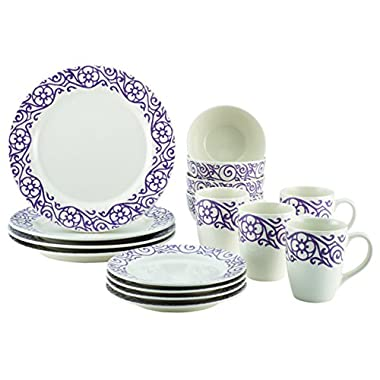 Rachael Ray 46238 16 Piece Scroll Stoneware Dinnerware Set, Lavender