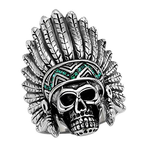 (Eternal Sparkles Mens Stainless Steel Polished Crystal Emerald Green Native American Skull Ring)