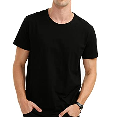 AAtop Mens Short Sleeve Top Shirts Slim Fit Cotton Tee