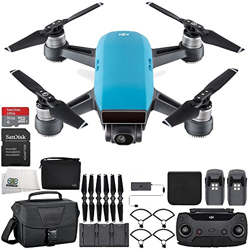 DJI Spark Portable Mini Drone Quadcopter Fly More Combo Travel Bundle (Sky Blue)