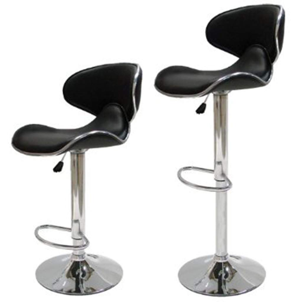 Flurries  Set of 2 Modern PU Leather Adjustable Bar Stools - Swivel Island Barstool Padded Chairs with Shell Back - Counter Height Hydraulic Armless for Pub Kitchen (Black) by Flurries