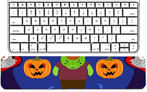Luxlady Keyboard Wrist Rest Pad Long Extended Arm Supported Mousepad IMAGE ID: 31870702 Seamless with animal in Halloween costume -