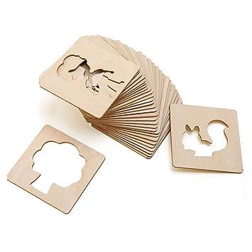 amazon com per 24pcs wooden children painting template set puzzle